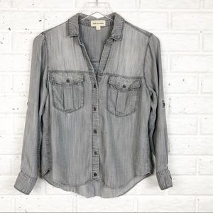 CLOTH & STONE grey chambray button up shirt